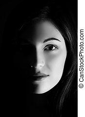 arte, foto, de, um, mulher bonita, com, rosto meio
