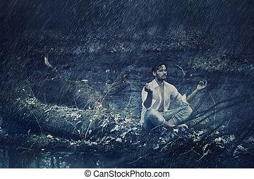 arte, foto, meditar, lluvia, hombre, guapo