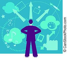 arte, frecce, confuso, dall'aspetto, digitale, uomo affari
