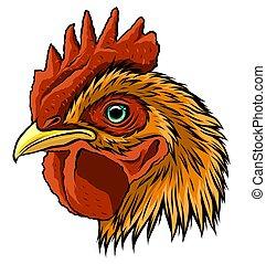 arte, gallo, ilustración, mascota, vector, cabeza