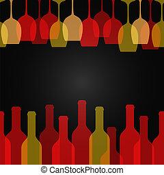 arte, garrafa, vidro, desenho, fundo, vinho
