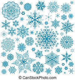 arte gráfica, snowflakes, neve flake, vetorial, icons., cobrança, natal