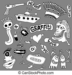 arte, graffito, elementi, illustrazione, urbano