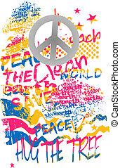 arte, graffito, pace, bandiera