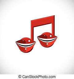 arte grafica, creato, canto, simbolo., illustrazione, theme., nota, labbra, vettore, disegno, umano, concettuale, bocca, melodia, dentro, elemento, musicale, modernistico