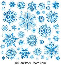 arte grafica, fiocchi neve, fiocco neve, vettore, icons., collezione, natale