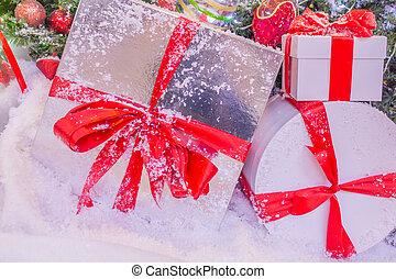 arte, grande, saudação, presentes, cartão natal