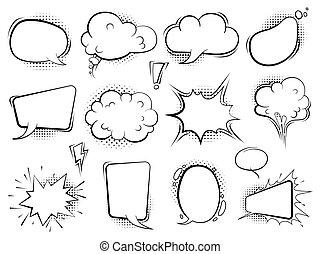 arte, halftone, bubbles., vettore, ballons, retro, discorso, comico, discorso vignetta