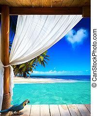 arte, hermoso, playa, vista, plano de fondo