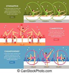 arte,  horizontal, gimnasia, banderas