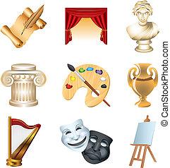 arte, icone, dettagliato, vettore, set