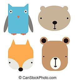 arte, icone, semplice, illustrazione, faccia, animale, geometrico