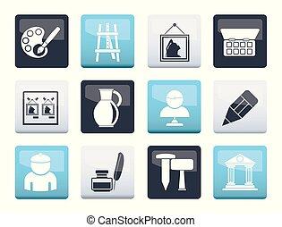 arte, iconos, color, encima, objetos, plano de fondo, multa