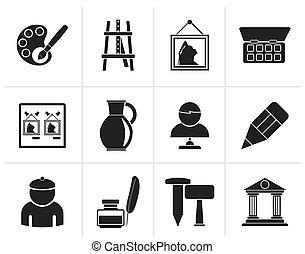 arte, iconos, objetos, multa, negro