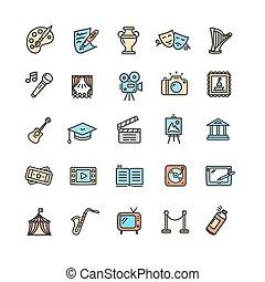 arte, iconos, set., creativo, cultura, vector, multa