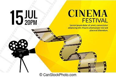 arte, illustration., cinema, festival, manifesto, cinepresa...
