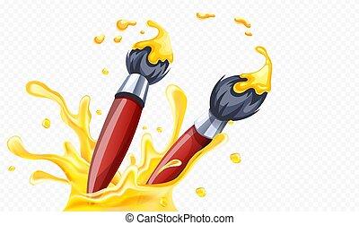 arte, illustration., escovas, amarela, vetorial, paint., desenho