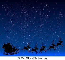 arte, illustration., estrelado, claus, fundo, vetorial, santa, céu noite