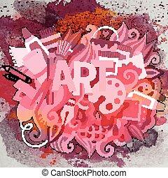 arte, illustration., scarabocchiare, mano, vettore, disegnato, cartone animato
