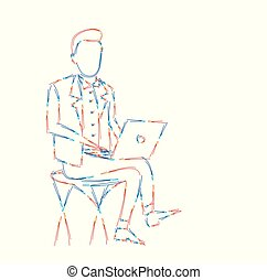 arte, illustration., seduta, giovane, laptop, vettore, disegno, linea, uomo