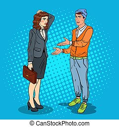arte, illustrazione affari, parlare, vettore, pop, woman., uomo