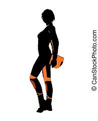 arte, illustrazione, motocicletta, femmina, silhouette,...