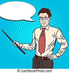 arte, illustrazione, vettore, pop, stick., uomo affari, puntatore