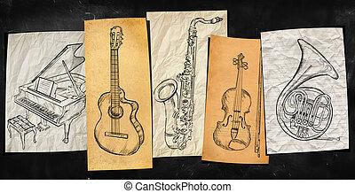 arte, instrumentos, música, fundo