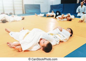 arte, judo, luta, marcial, treinamento, criança