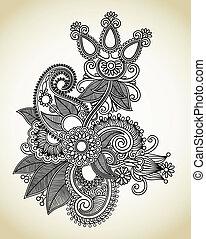 arte, línea, flor, diseño, florido