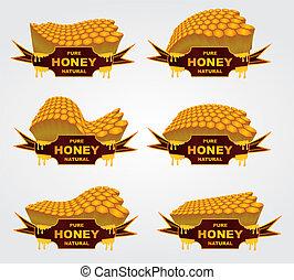 arte, líquido, tarro, miel, vector, diseño