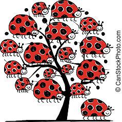 arte, ladybird, família, árvore, desenho, seu