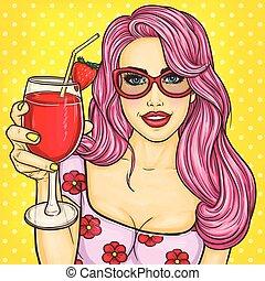 arte, lei, cocktail, pop, titolo portafoglio mano, sexy, ragazza