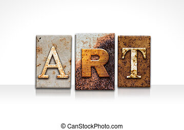 arte, letterpress, conceito, isolado, branco