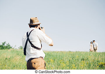 arte, leva, natureza, fotógrafo, noivo, noiva, casório, quadros, multa, foto