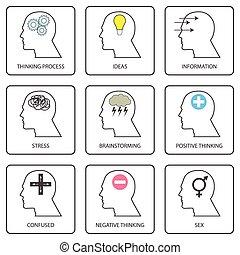 arte, linha, mente, ícones