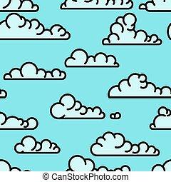 arte, linha, nuvens, seamless, padrão