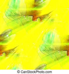 arte, luce, seamless, giallo, acquarello, struttura, fondo, verde