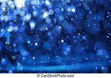 arte, luces de navidad, en, fondo azul