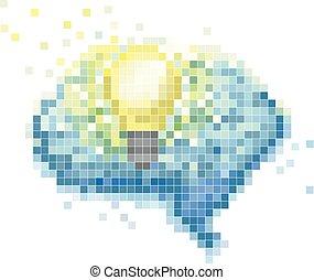 arte, luz, ilustração, cérebro, bulbo, pixel