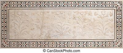 arte, mármol, piedra, fachada, agra, taj, uttar, mahal, ...