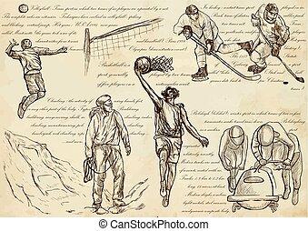 arte, -, mão, mistura, vetorial, desenhado, linha, desporto, ilustrações