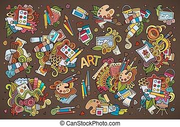 arte, mão, símbolos, pintura, materiais, doodles, desenhado