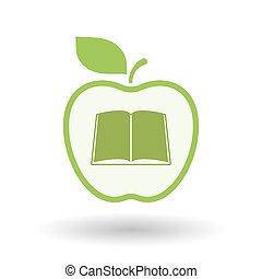 arte, maçã, isolado, livro, linha, ícone