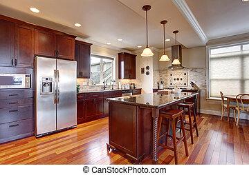 arte, macchiato, wood., stato, profondo, cucina