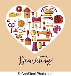 arte, manifesto, vettore, hobby, artigianato, decorare
