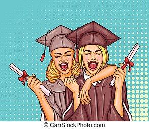 arte, manto, universidad, gorra, niñas, dos, taponazo, graduado, su, graduación, estudiante, manos, diploma, excitado