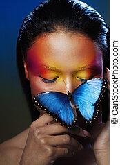 arte, maquillaje, el, imagen, con, butterfly., eyeshadow