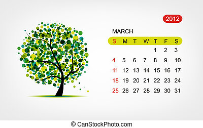 arte, march., árbol, vector, diseño, 2012, calendario