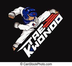 arte marcial, taekwondo.